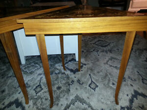 2 Vintage Inlaid Wood Musical Triangle Accent / End Tables London Ontario image 2