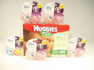One Box of Huggies Wipes & Five Packs of Philips Pacifiers