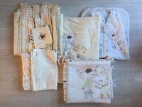 BED-E-BYES BAXTER & ROSIE NURSERY BEDDING SET, CURTAINS AND SLEEPING BAG
