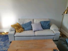 Cream leather sofa. £50 o.n.o