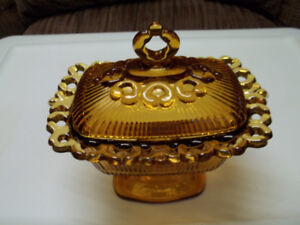 Antique Glass Serving Dish With Cover.