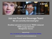 Our Food and Beverage Team are Hiring Servers!