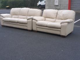 Cream Leather 2&3 Seater Sofas
