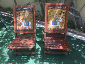 Hand Painted Hardwood  Chairs  with Indian Motif