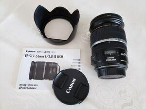 Canon EF-S 17-55mm F2.8 IS USM Lens, Lens Hood and B+W UV Filter