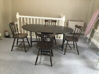Gateleg wooden table and 4 Chairs