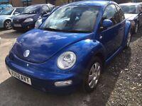 VW BEETLE 1.6 PETROL MANUAL 2002 BLUE SERVICE HISTORY