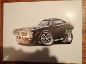 "1973 / 74 DODGE CHARGER BLACK WALL ART PICTURE 11"" X 8.5"""