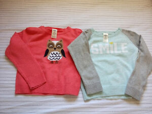 2 toddler girl sweaters, 24 months