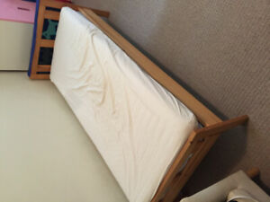 """Kids bed with mattress and side table used 65"""" x 30"""""""