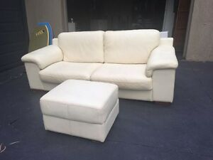 White To Off White Leather Couch And Ottoman Elanora Heights Pittwater Area Preview
