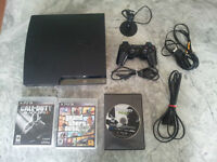 PS3 Super Slim 120GB Console + controller + headset + 3 games