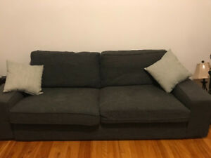 IKEA kivik grey sofa- comes with purple cover for free