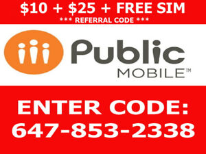 $10 Public Mobile Referral, $25 account credit and free sim