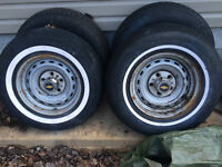 four 15x7 chev 1/2 ton rally wheel
