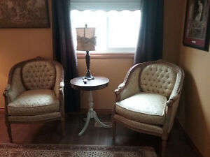 French style tufted club chairs