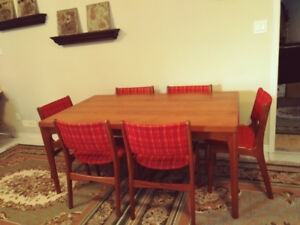 Scandinavian Modern Teak Dining Table (Extendable) with 6 Chairs