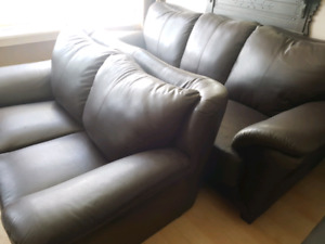 Needs to Go! Genuine Italian Leather Couch & Loveseat