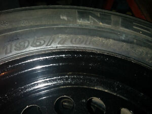 FOUR 195/70R14 Winter tires, Steel Rims and Hubcaps