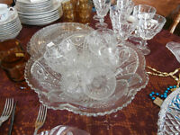 Early American Pressed Glass Punch Bowl Set