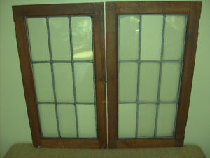2 MATCHED PAIR ANTIQUE LEADED GLASS WINDOWS !!!