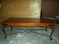 wooden coffee table and 2 end tables with metal legs