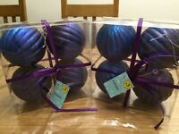 2 packs of Christmas baubles, blue/purple colours
