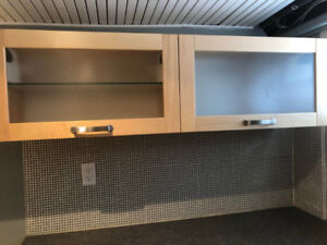 Floating Maple Cabinets with Frosted Glass (2)