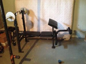 Weight bench+curl bar