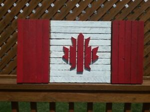 Handcrafted Rustic Wooden Canadian Flags made in Port Dover