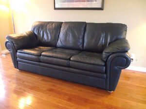 GENUINE LEATHER NAVY BLUE 3 SEATER CHESTERFIELD