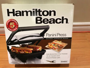 Hamilton Beach Panini Press Gourmet Sandwich Maker - New