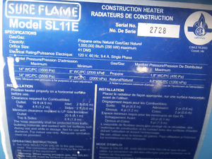 SURE FLAME CONSTRUCTION HEATERS