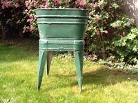 VINTAGE GALVANISED WASH TUB TIN BATH STAND w DRAIN garden planter dog bath beer cooler kitchen retro