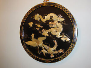 Chinese Wall Plaque, Mother of Pearl, Round, Dragon & Peacock