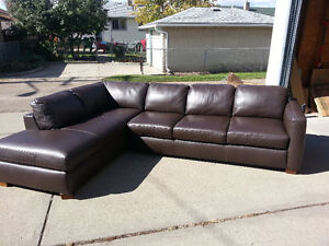 Natuzzi Brown Leather Sectional