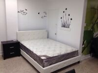 Queen or double bed in white leather with pearls & spring slats