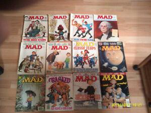 Lot de 12 magazines MAD des années 1970, 1980 et 1990 vintage