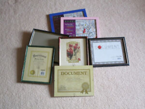 Photo or document frames in various colours.