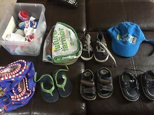 0-6 month shoes, hat, swimmer, socks