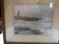 Signed WR MacAskill Surf At Peggys Cove NS Tinted Photograph