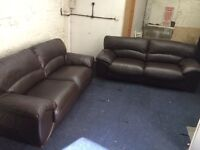 Quality leather 2x3 sofas (free delivery)