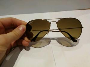 RB 3025 gold frame aviator Ray-Ban polarized sunglasses
