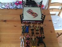 WWE wrestling ring + 9 figures / toys