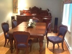 Antique Mahogany Dining Room Table with 12 Chairs