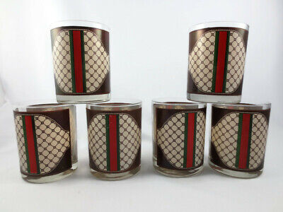 Set of 6 Vintage Moran MCM Drinking Glasses Designer Gucci Style Red Green (Gucci Red And Green Glasses)