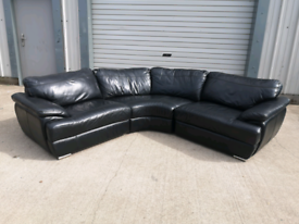 Real black leather corner sofa couch suite 🚚🚚