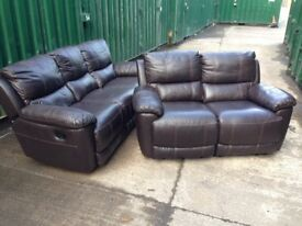 HARVEYS Oberon Brown LEATHER RECLINING 3 and 2 Seater sofa set Ex DISPLAY model
