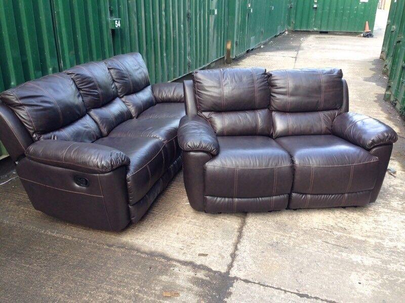 Harveys Oberon Brown Leather Reclining 3 And 2 Seater Sofa Set Ex Display Model