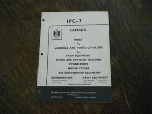 International Harvester Canada Index to Manuals and Parts Catalo